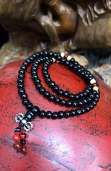 Black Sandalwood Mala 108 6mm Beads with Dorje