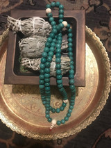 Turquoise Mala 10mm with Snow Crystal