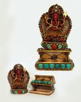 Multi-stone vermeil/silver Ganesh