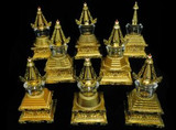 Gold Plated 8 Stupa's of the Buddha