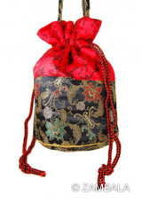 Barrel Shape Brocade Pouch