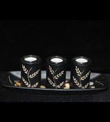 Three Tubular Laurel Design Votive