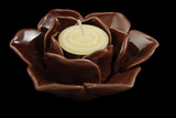 Porcelain Lotus Votive Holder (Small), Brown