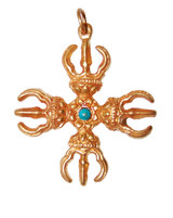 3 Leaf Double Dorjee Pendant Gold Colored