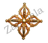 5 Leaf Double Dorjee Pendant Gold Colored