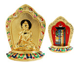 """Gold plated plaque with Sakyamuni on the front, and the Kalachakra on the back. Stands 2.75"""" tall."""