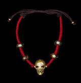 Brass Skull Red Macrame Bracelet