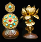 Peaceful Torma Set Brass Gilded Gold