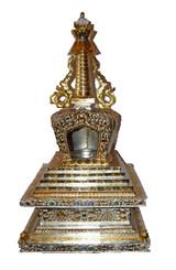 Gilded & Silver Copper Stupa 30 Inch