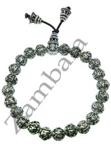 Sterling Silver Six-Character Great Bright Mantra Beads Hand Mala 8 mm