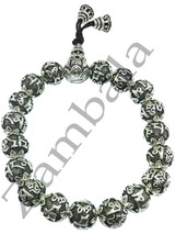 Sterling Silver Six-Character Great Bright Mantra Beads Hand Mala 9 mm