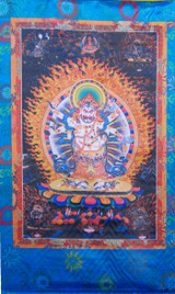 White Mahakala Silk Screen Thangka 3 ft