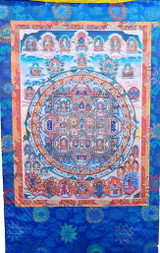 100 Buddhas Silk Screen Thangka 3 ft