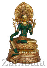 "Green Tara Statue, Gilt Copper 24"" Ht"