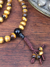 Tiger Eye 108 10mm Bead Mala with Onyx Guru Bead