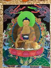 Hand Painted Full Brocade Shakyamuni Buddha Thangka