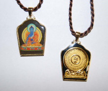 Painted Medicine Buddha Pendant with Gold Plated Mantra