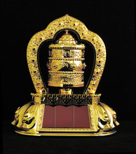 Solar prayer wheel that can be battery powered as well. It has a button to change the speed of the prayer wheel.