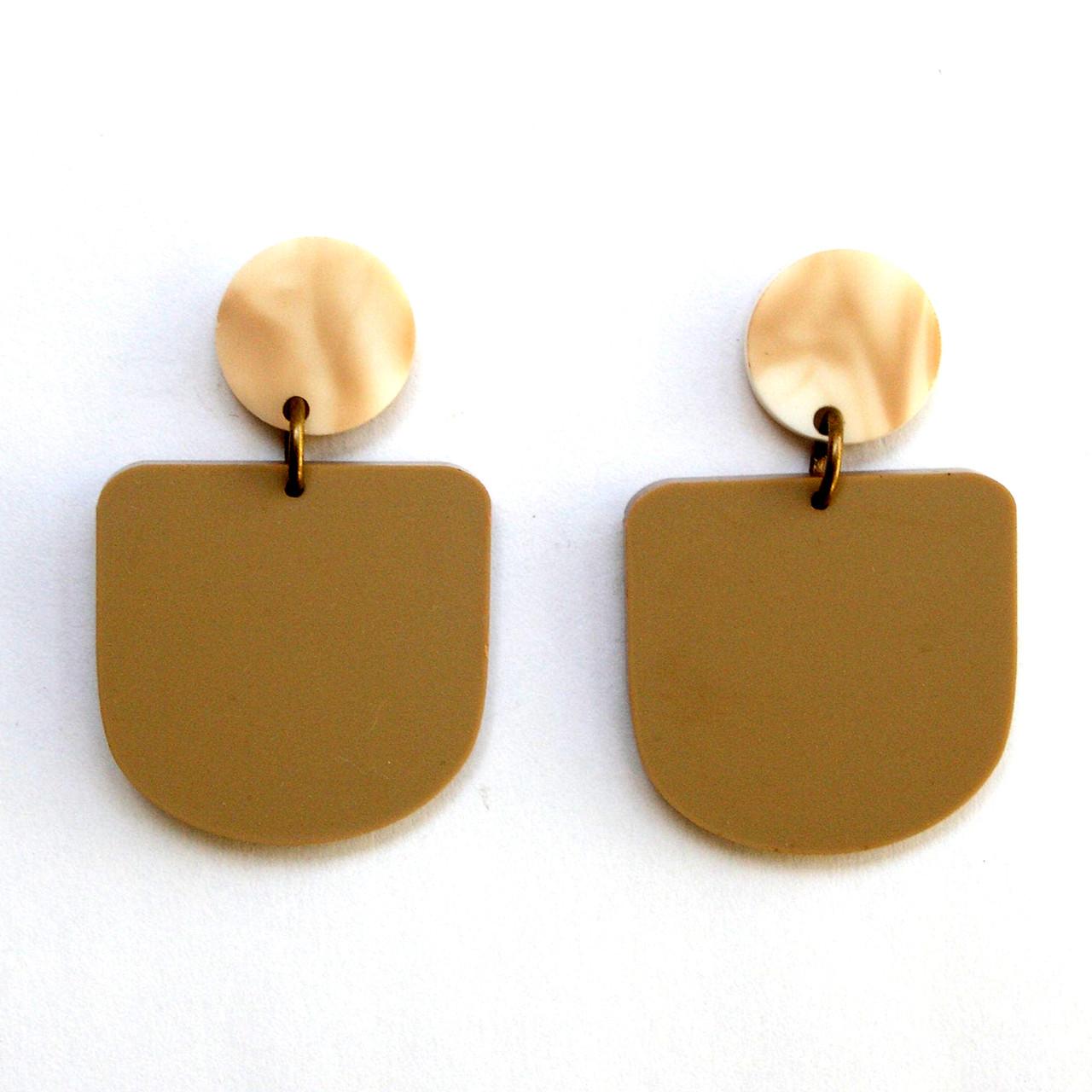 Matte Tan U Design Drop Earrings