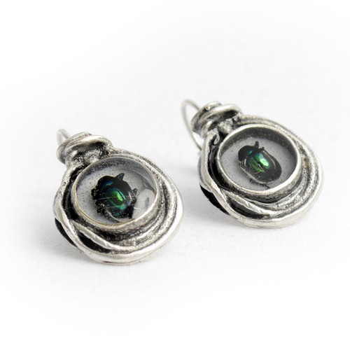 Round Silver Beetle Earrings