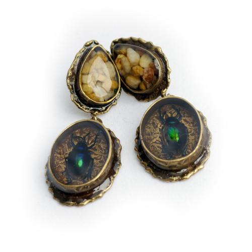 Stone and Beetle Earrings