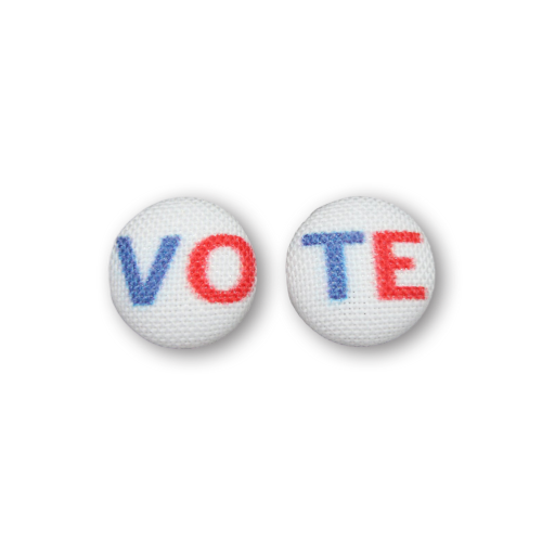 VOTE Fabric Button Earrings
