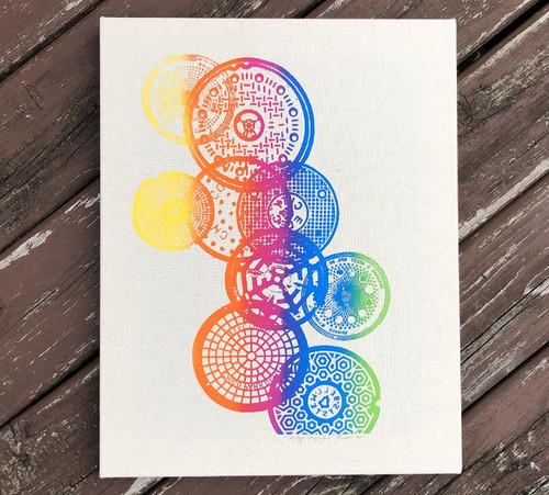 Rainbow wrapped canvas