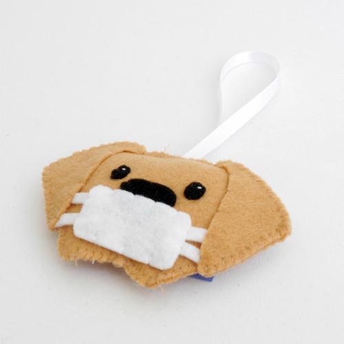 Face Mask Dog Ornament