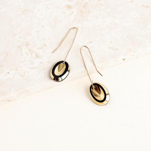 Deco Oval Drop Earrings