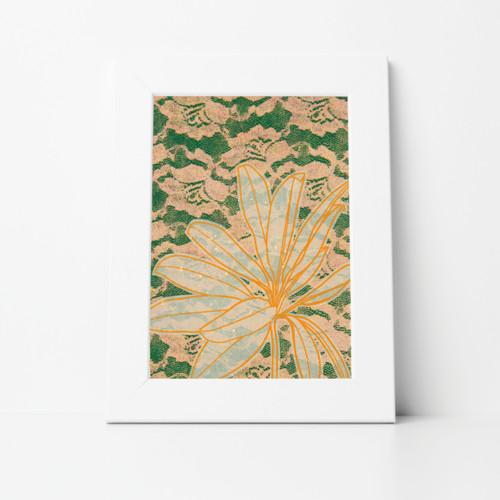 Flower II Mono Print 8x10 Matted