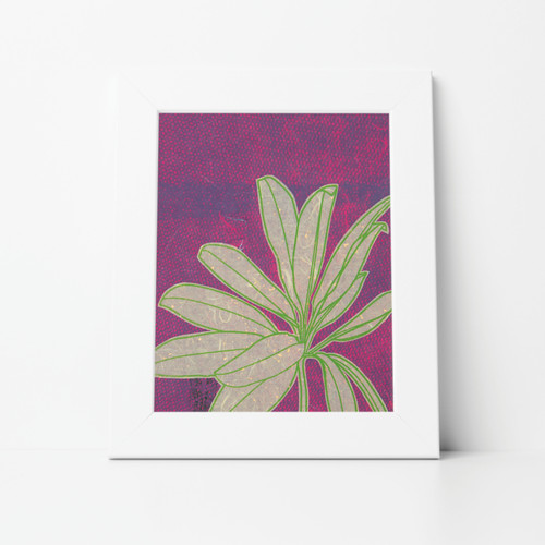 Flower I Mono Print 11x14 Matted