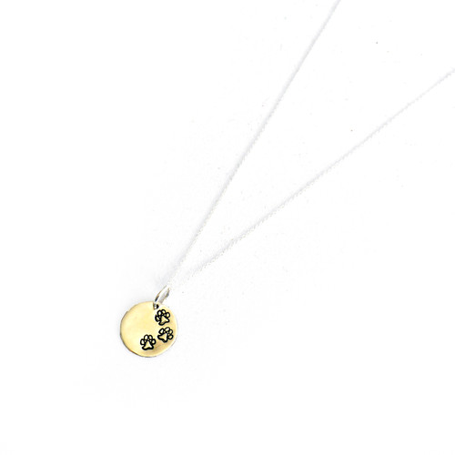 "Paw Print Necklace 16"" Chain"