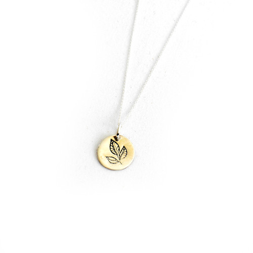 """Stamped Leaf Necklace 16"""" Chain"""