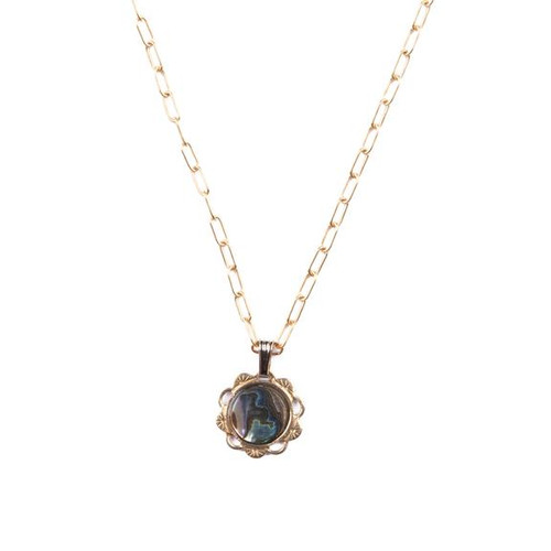Abalone Scalloped Charm Necklace