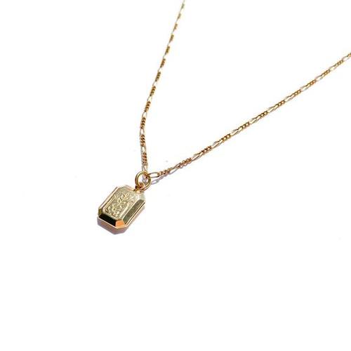 Tiny Engraved Rectangle Locket Necklace