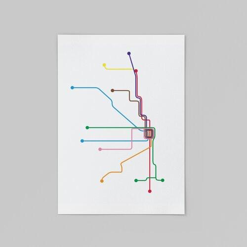 Minimalist Transit Map 8x10