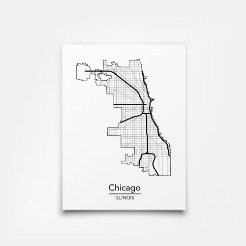 Chicago City Map 8x10