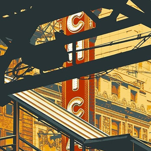 "A view of an iconic Chicago Theater sign through the ironworks of State and Clark ""L"" stop."