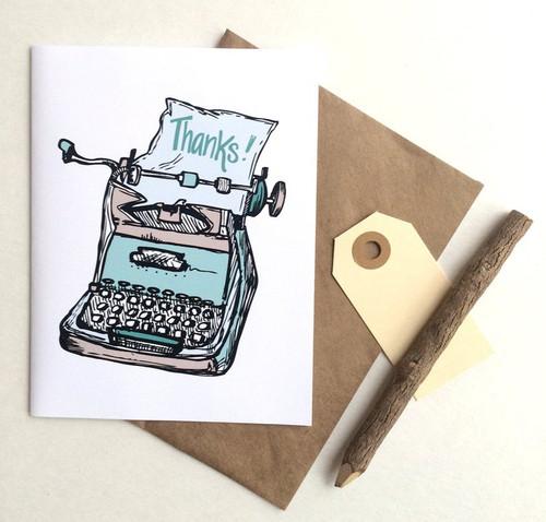Typewriter Thanks Card