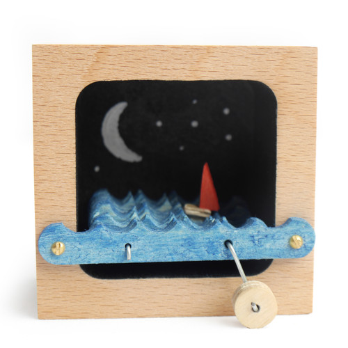 Night Sky Kinetic Wooden Sailboat Sculpture
