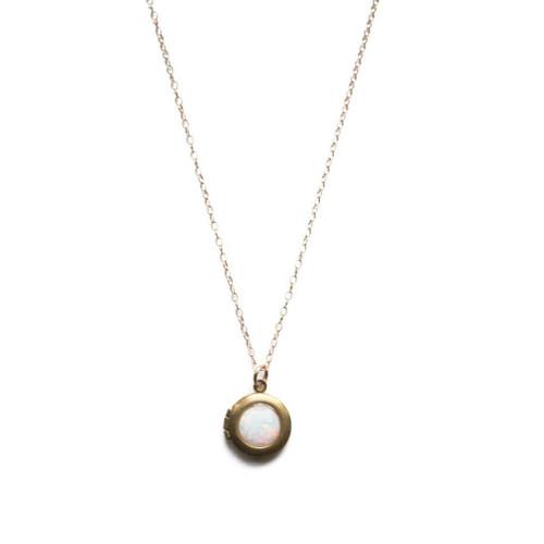 Opal Locket Necklace