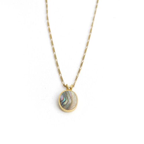 Abalone Ellipse Charm Necklace