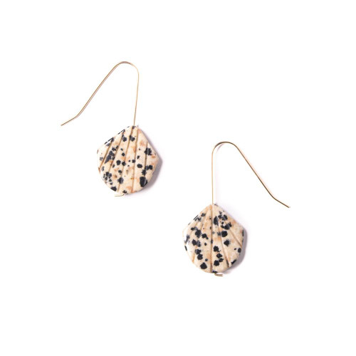 Dalmatian Jasper Shell Drop Earrings