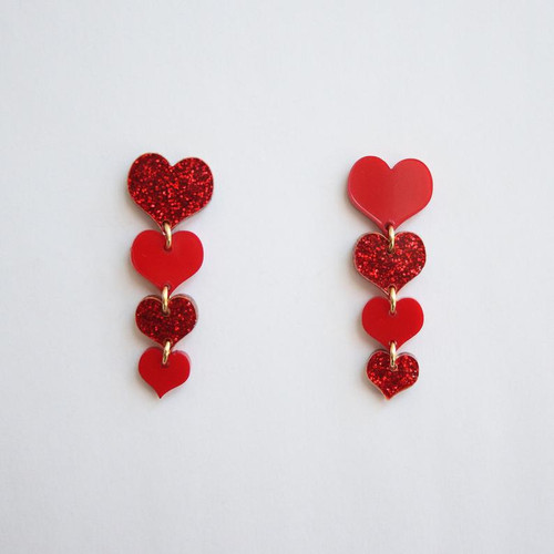 Acrylic Ascending Heart Earrings