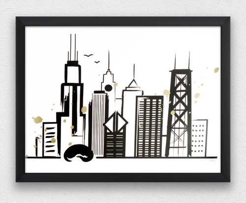 Black And Gold Skyline 20x16 Screen Print
