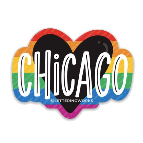 Chicago Heart - Pride Sticker