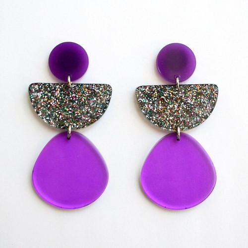 Purple Sparkle Geometric Half Circle Earrings