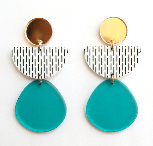 Teal Mirror And White Geometric Half Circle Earrings