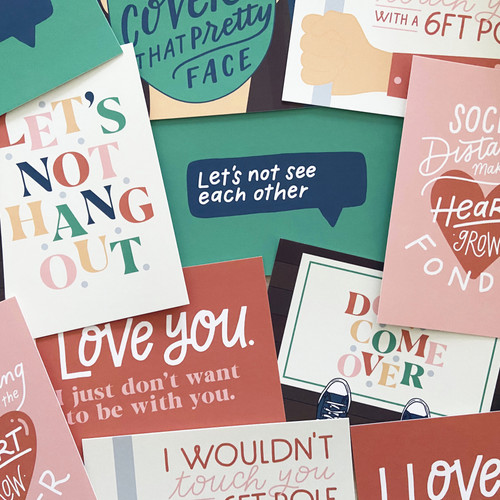 Hand-Lettered Candid COVID Cards
