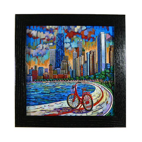 Biking Chicago Box Frame Print